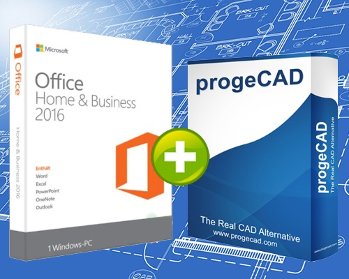 progeCAD 2D/3D Professional SL 2018 + Microsoft Office 2016 Home & Business