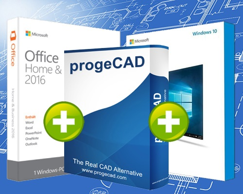 progeCAD 2017 + Windows 10 + Office 2016 Home & Business
