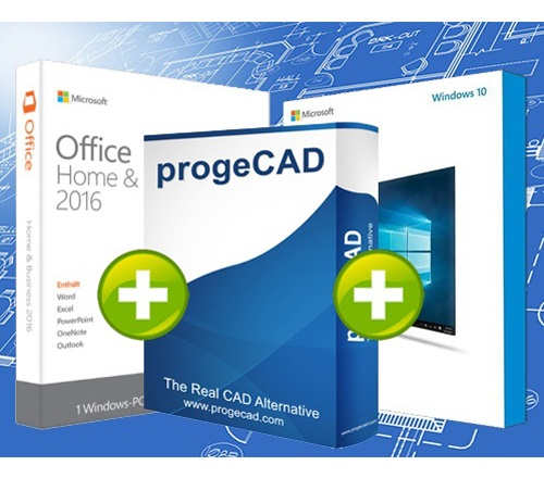 progeCAD SL 2018 + Windows 10 + Office 2016 Home & Business